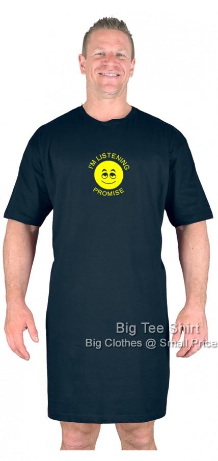 74f8534e Black Big Tee Shirt Listening Nightshirt L XL 2XL 3XL 4XL 5XL 6XL 7XL 8XL