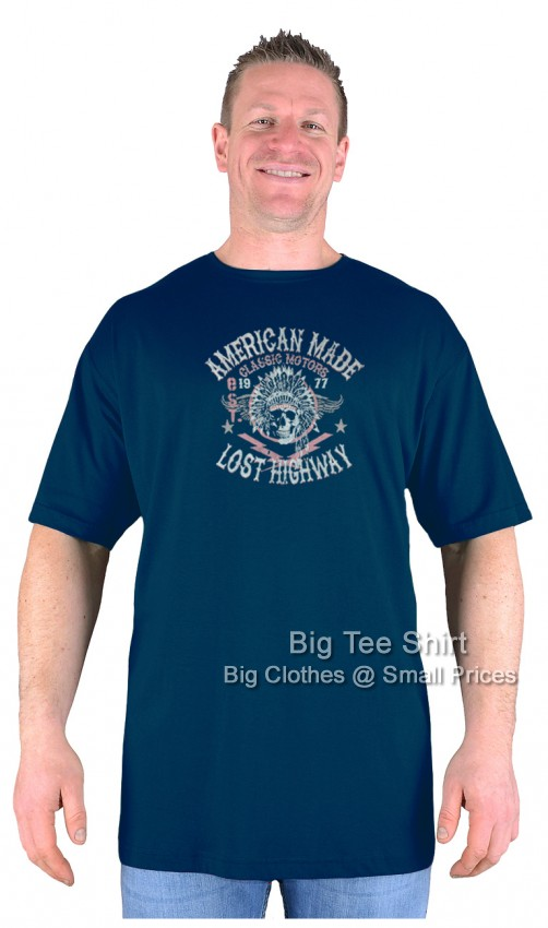Navy Blue Big Tee Shirt American Made T-Shirt 2XL 3XL 4XL 5XL 6XL 7XL 8XL