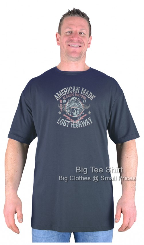 Charcoal Big Tee Shirt American Made T-Shirt 2XL 3XL 4XL 5XL 6XL 7XL 8XL