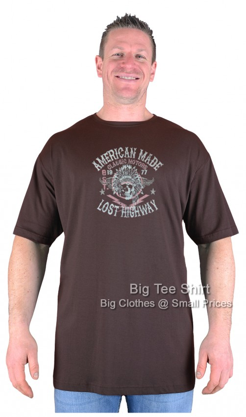 Chocolate Brown Big Tee Shirt American Made T-Shirt 2XL 3XL 4XL 5XL 6XL 7XL 8XL