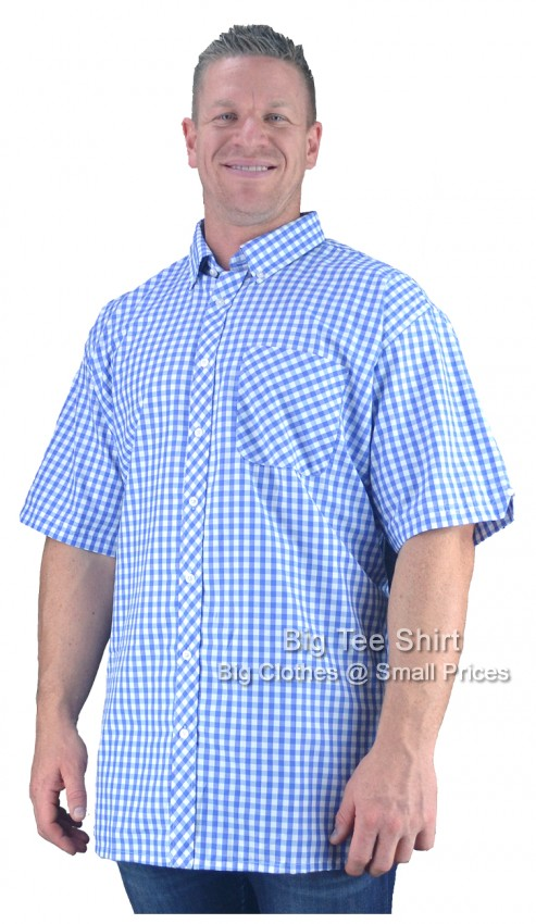 Blue White Espionage Jacob Check Short Sleeve Shirt 2XL 3XL 4XL 5XL 6XL 7XL 8XL