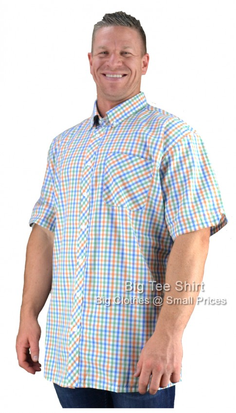 Blue Peach Espionage Jacob Check Short Sleeve Shirt 2XL 3XL 4XL 5XL 6XL 7XL 8XL