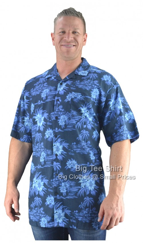 Navy Blue Espionage Samoa Floral Shirt