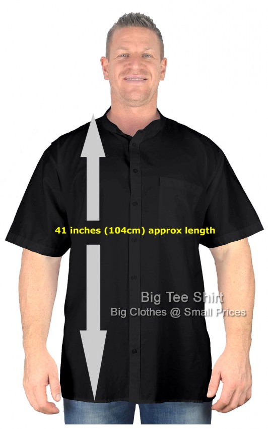 Black BTS Elan Extra Tall Long Grandad Short Sleeve Shirt