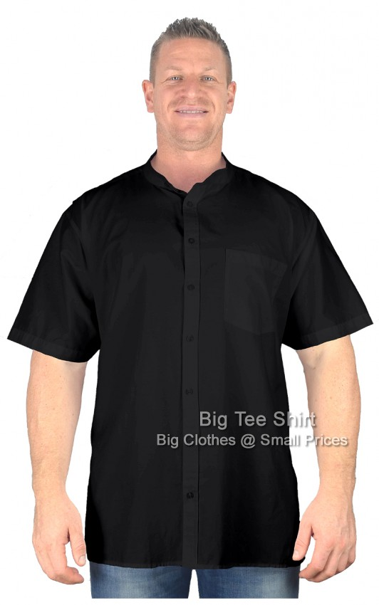 Black BTS Buzz Grandad Style Short Sleeve Shirt