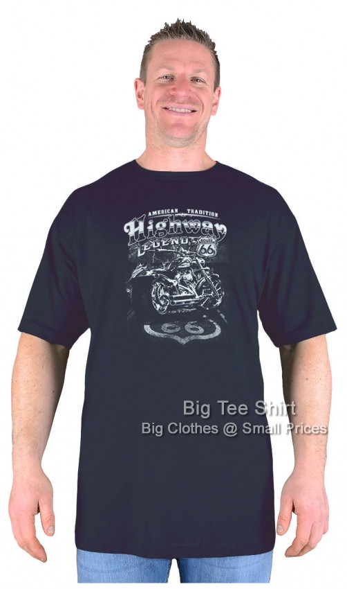 Black  Big Tee Shirt American Tradition Biker EXTRA LONG TALL T Shirt