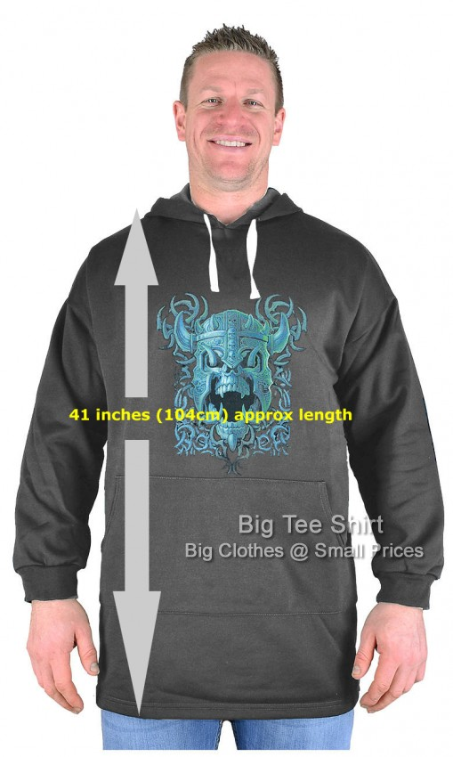 Raven Grey Big Tee Shirt Battle Skull Extra Tall Extremely Long Pullover Hoodie - Damaged or Seconds
