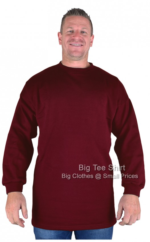Burgundy Big Tee Shirt Crew Neck Sweatshirt  Size XL to 8xl