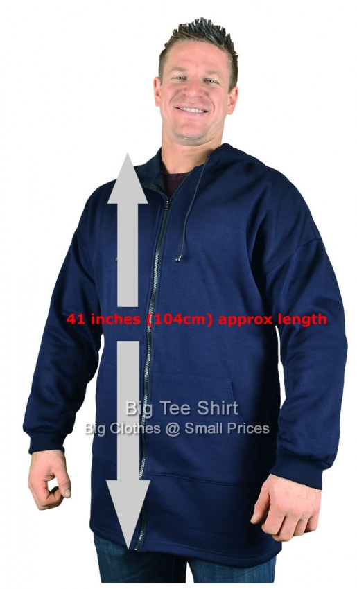 Big mens navy big tee extra long tall zip up hoodie small for Extra long shirts for tall men