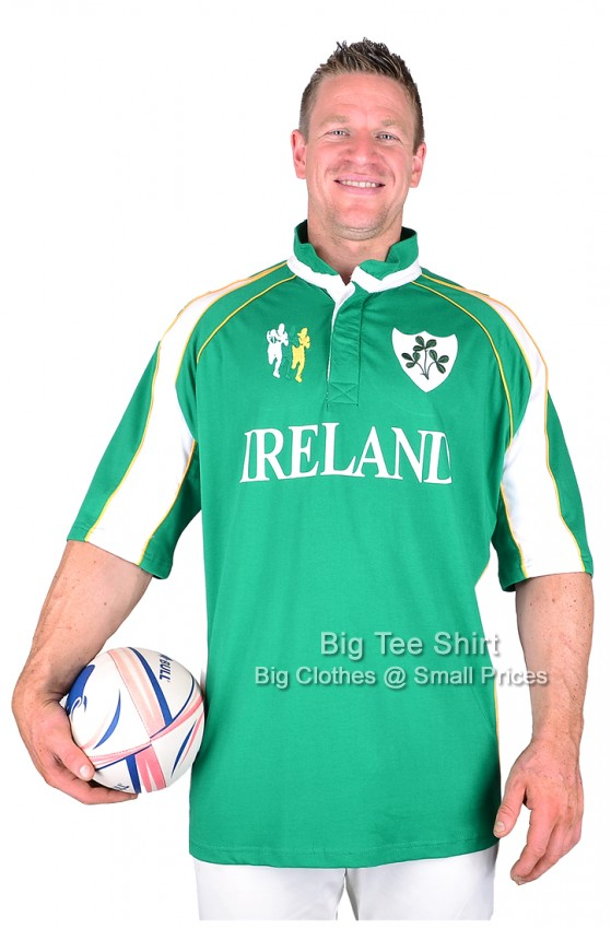 Big mens ireland bains and scott rugby shirt 2xl 3xl 4xl for Big and tall polo rugby shirts