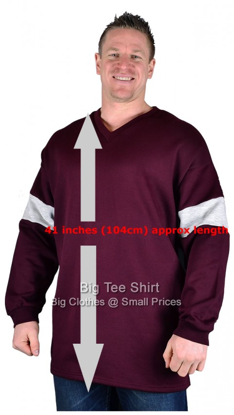 Burgundy Big Tee Shirt Bock Extra Tall V-Neck Sweatshirt