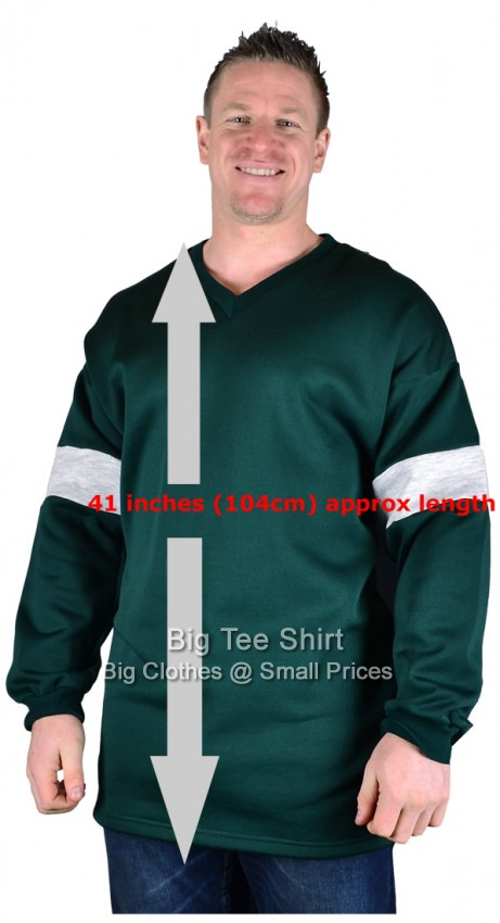 Bottle Green Big Tee Bock Extra Long Tall V-Neck Sweatshirt S to 8xl