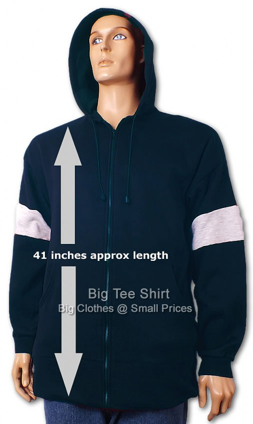 Navy Big Tee Switch Extra Long Tall Zip Up Hoodie Small to 8xl - End of line