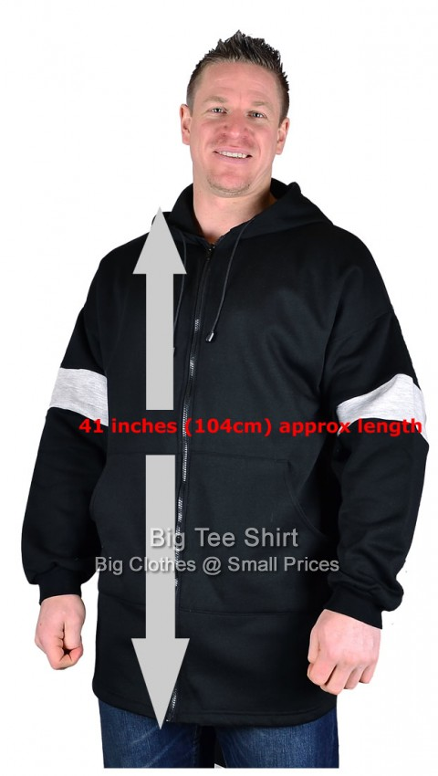 Black Big Tee Switch Extra Long Tall Zip Up Hoodie Small to 8xl - End of line