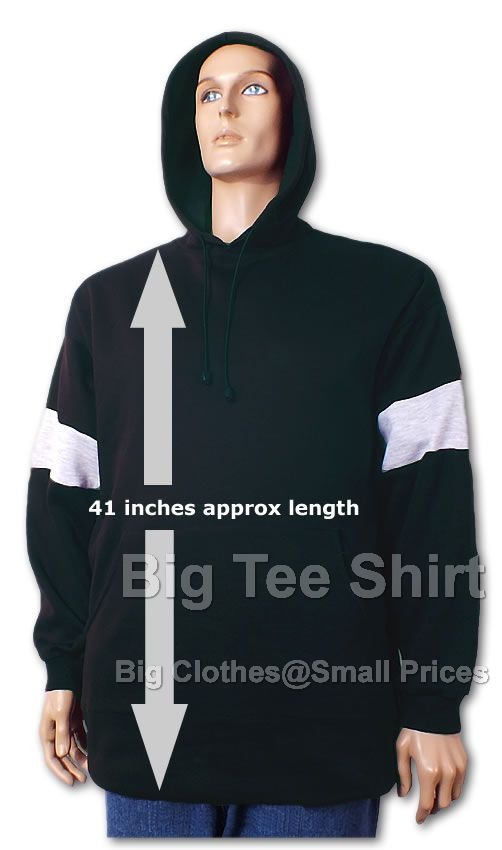 Black Big Tee Wells Extra Long Tall Pullover Hoodie Small to 8xl - End of line