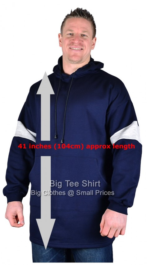 Navy Big Tee Wells Extra Long Tall Pullover Hoodie Small to 8xl - End of line