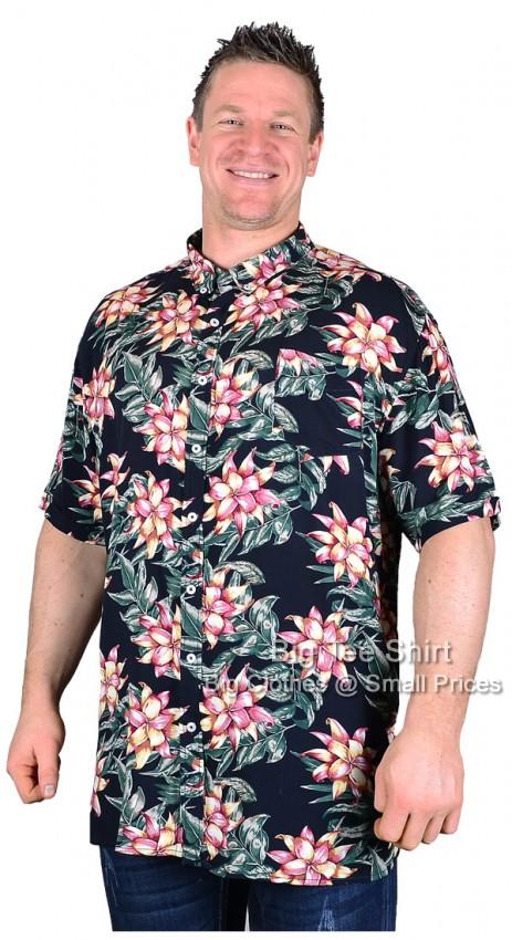 Big mens navy d555 aloha hawaiian short sleeve shirt for 6xl button down shirts