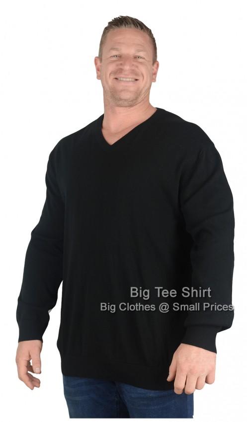 Big mens black espionage dens v neck jumper 2xl 3xl 4xl 5x for Mens 2xl tall shirts