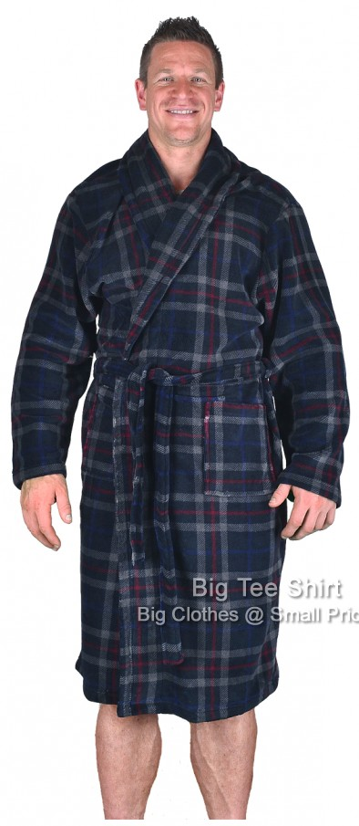 Navy Espionage Morris Check Dressing Gown 2xl 3xl 4xl 5xl 6xl 7xl 8xl - EOL