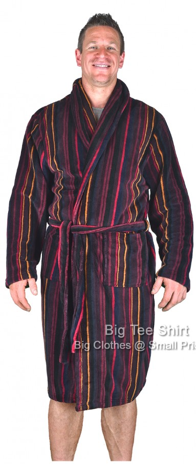 Red Espionage Cross Striped Dressing Gown 2xl 3xl 4xl 5xl 6xl 7xl 8xl - EOL