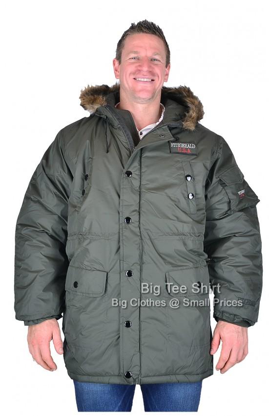 Olive Green Fitzgerald Oates Parka Coat Size 2xl 3xl 4xl 5xl - EOL