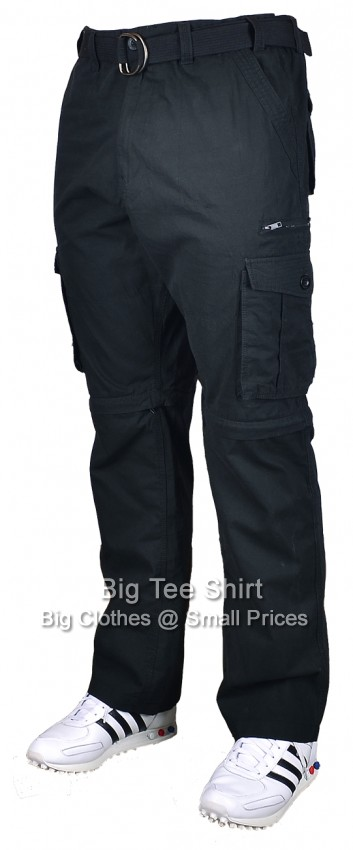 "Black Kam Perrin Zip Off 30"" IL Cargo Pants 44 46 48 50 52 54 56 58 60"