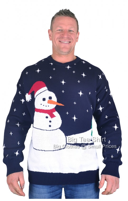 Navy Snowman Brooklyn Robin Christmas Jumper Size 2xl to 5xl - EOL