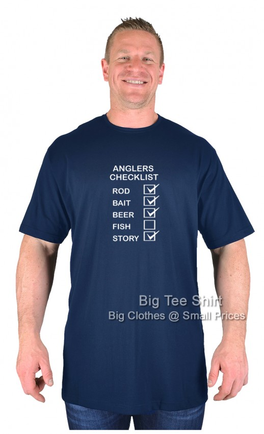 Navy Blue BTS Anglers Checklist EXTRA TALL T-Shirt Sizes 2XLT to 8XLT