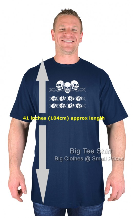 Navy Blue BTS Barbed Wire Skull EXTRA TALL T-Shirt Sizes 2XLT to 8XLT