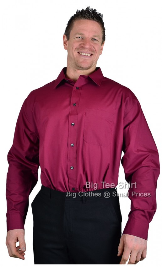Burgundy Double Two Classic Long Sleeve Shirt  2xl 3xl 4xl 5xl 6xl - End of line