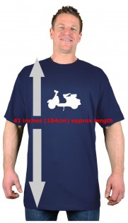 Navy Big Tee Extra Long Tall Scooter T-Shirt